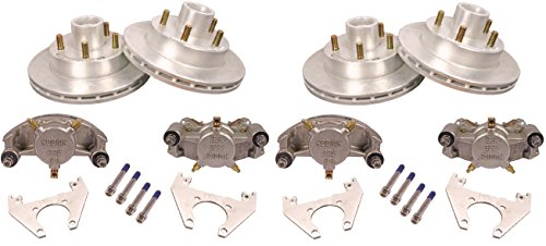 Kodiak 2-Pk 10 in. Trailer Complete Disc Brake Kit Stainless Calipers (2 Axles) Brake Bleed Conversion Kit