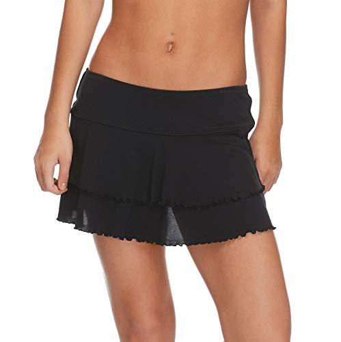 (Body Glove Women's Smoothies Lambada Solid Mesh Cover Up Skirt Swimsuit, Black, Medium)