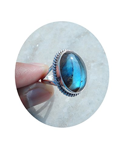 (15x20 MM Large Labradorite Silver Ring, 100% Natural Blue Labradorite Ring Size 7.5, 7.75, 8, 8.25, 8.5, Gemstone Ring, Big Labradorite Ring for women, girls, Gift for her)