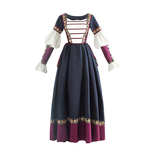 Nuoqi Women's Viking Dress Costume Renaissance Embroidery Dress with Viking Wrist Guard Navy Blue]()