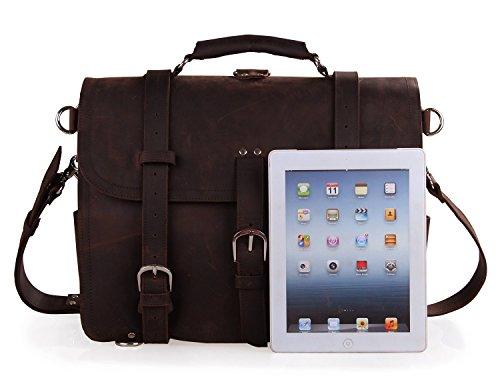 Polare Thick Full Grain Leather Shoulder Briefcase Satchel Messenger Bag For Men(Dark Brown) by Polare (Image #6)