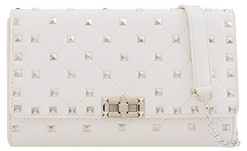 Stunning Handbag Beads White Shoulder Evening Clutch Ladies Faux Classy Quilt U7BpTx