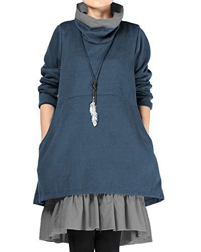 Mordenmiss Women's Flared Layers Dress Hi-Low Ruffle Hem Tunic Top (L, Jean Blue)