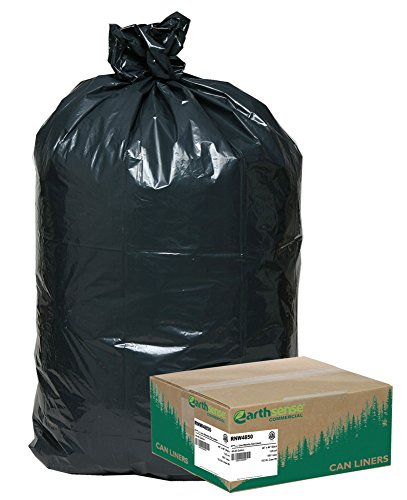 Earthsense Commercial RNW4850 Recycled Can Liners, 40-45gal, 1.25mil, 40 x 46, Black (Case of 100) by Earthsense