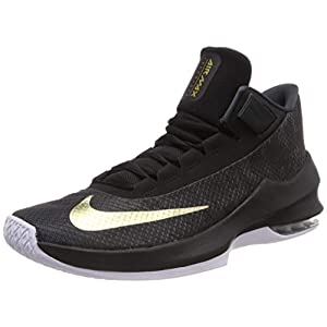 Nike Men's Air Max Infuriate 2 Mid Basketball Shoe (8.5 M US, Anthracite/Metallic Gold-Black-White)