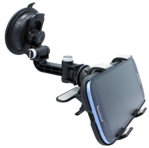 Universal Multi-angle 360 degree Rotating Clip Car Window Mount Windshield Phone Holder for HTC DEsire 510 610 612 EYE, HTC Samsung Galaxy Alpha, ZTE ZMax, LG Optimus F60 / F3Q, (Htc Car Charger Silicone Skin)