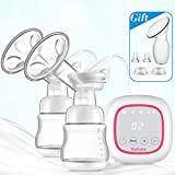 Phileex Dual Breast Pump with Touch Screen Double Electric Breast Pump Portable Adjustable