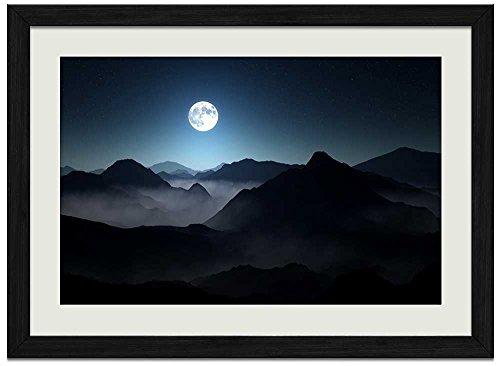Dark Mountains Full Moon - Art Print Wall Black Wood Grain Framed - Framed Mint Photo