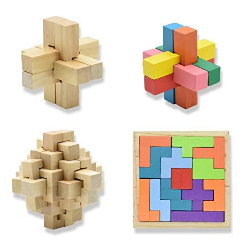 3D Wooden Puzzles Games, Logic Mind Challenge Brain Teaser Jigsaw Puzzles Brain Teaser Interlocking Puzzle Educational Toys Gift for Teens and Adults - Set of 4