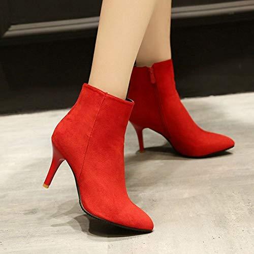 RAZAMAZA Rojo Cremallera Mujer Botas Moda Stiletto Tobillo de r6xrwfagq