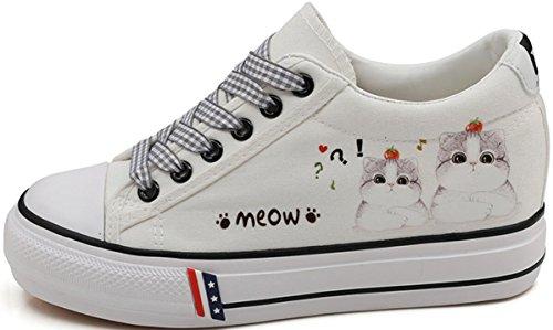 Satuki Tygskor För Kvinnor, Plattform Snörning Tillfällig Katt Komfort Vit Mode Sneakers D