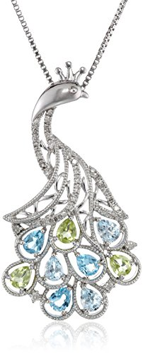 Sterling Silver Swiss Blue and Light Blue Topaz, Peridot and Diamond Peacock Pendant Necklace (0.12 cttw, I-J Color, I3 Clarity), 18""