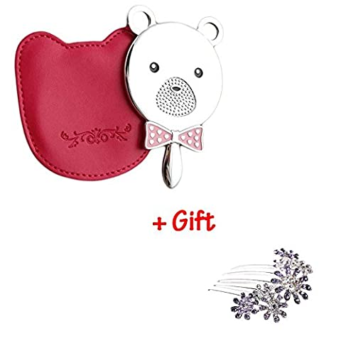 Brendacosmetic Lovely Pink Bear Head Cosmetic Mirror Handle Mirror with Portable Mirror with Pu Cover & Gift Flower Rhinestone Hair Comb Hairpin Hair Accessories for Girls (Goody Two Sided Mirror)