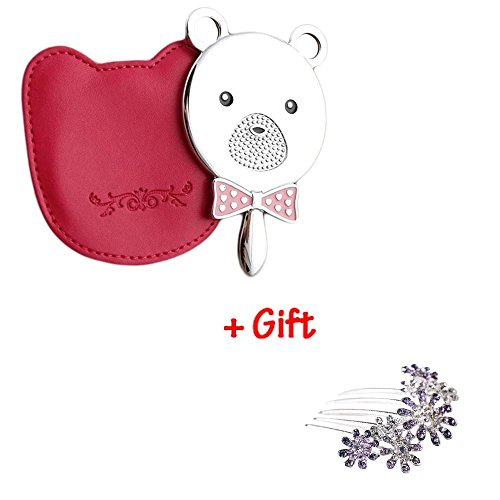 Brendacosmetic Lovely Pink Bear Head Cosmetic Mirror Handle Mirror with Portable Mirror with Pu Cover & Gift Flower Rhinestone Hair Comb Hairpin Hair Accessories for Girls - Chanel Online Uk