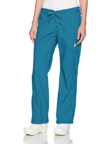 Code Happy Women's Bliss W/Certainty Low Rise Straight Leg Drawstring Pant, Caribbean Blue, Small Tall -