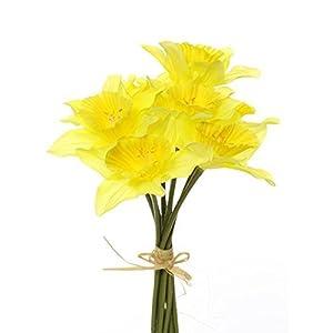 MaxJam Artificial Silk Daffodil Flowers 34Cm Long 9 Stems Tied Bundle 97