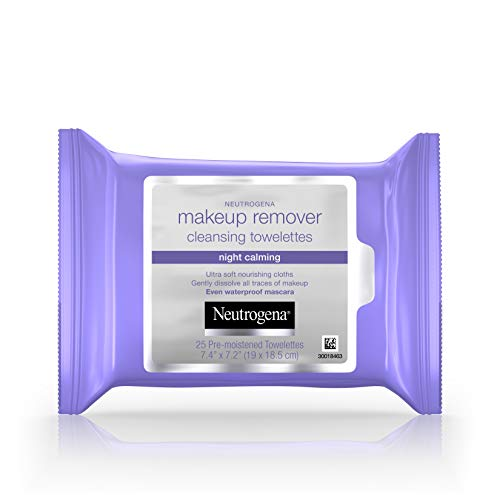 - Neutrogena Makeup Remover Night Calming Cleansing Towelettes, Disposable Nighttime Face Wipes to Remove Dirt, Oil & Makeup, 25 ct (Pack of 6)