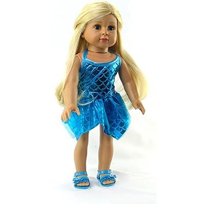 American Fashion World Blue Mermaid Bathing Suit fits 18 Inch Doll: Toys & Games