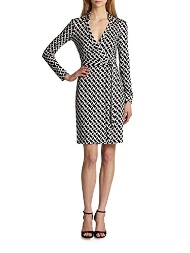 Diane von Furstenberg Women's New Jeanne Two Dress, Chain Link Medium Grey, 12