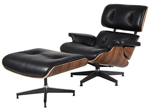 an. High-elastic Soft Foam Cushions, Great Resilience & Never Lose Elasticity. Black Aniline Leather, 7-ply Palisander Veneer. Cast Aluminum 5 Star Swiveling Base. (Eames Lounge Ottoman)