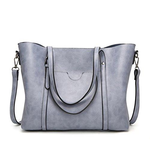 Baachang Hombro Gray Bolso La Señoras Mensajero color Las Bolsa Light Cuero De Salvajes Blue Simple xOOSrw