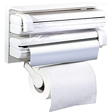 RYLAN Plastic Triple Tissue Paper Dispenser 4 in 1 Foil Cling Film Tissue Paper Roll Holder for Kitchen Triple Paper Roll Dispenser and Holder for Tissue Paper Roll, Kitchen Tissue Holder Stand. 11