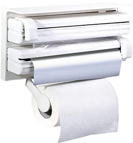 RYLAN Plastic Triple Tissue Paper Dispenser 4 in 1 Foil Cling Film Tissue Paper Roll Holder for Kitchen Triple Paper Roll Dispenser and Holder for Tissue Paper Roll, Kitchen Tissue Holder Stand. 5
