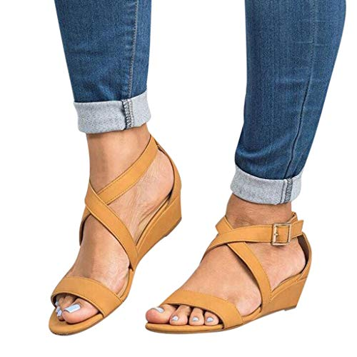 Women's Summer Ankle Strap Buckle Low Wedge Platform Heel Sandals Fashion Design Pump Shoes (US:6, Brown-2)