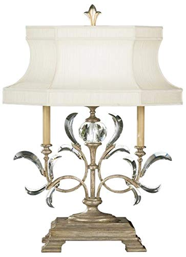 EuroLuxHome Table Lamp Beveled ARCS 1-Light Muted Silver Leaf Metal Laminated Silk Sh ()