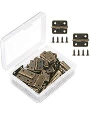 VIPMOON 50 piezas Mini bisagras de bronce antiguo Bisagras de tope retro con 200 piezas de tornillos de bisagra de repuesto, con caja de plástico
