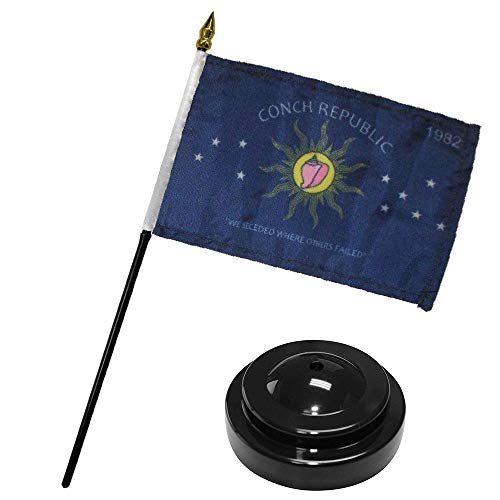 ALBATROS Conch Republic Key West 1982 Flag 4 inch x 6 inch Desk Set Table Stick with Black Base for Home and Parades, Official Party, All Weather Indoors Outdoors