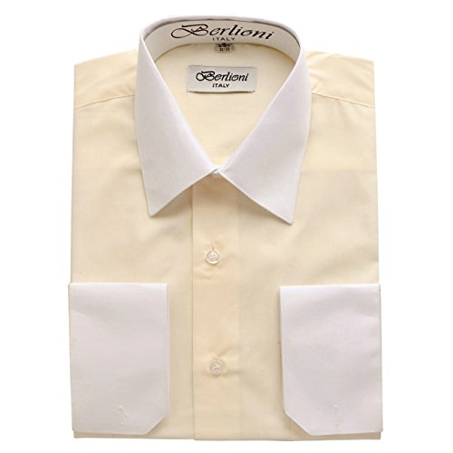 Berlioni Italy Men's Two Tone French Convertible Cuff Dress Shirt Off White-L (16-16½) Sleeve 34/35 (Ton White Shirt)
