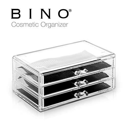 (BINO 3 Drawer Acrylic Jewelry and Makeup Organizer, Clear Cosmetic Organizer Vanity Storage Display Box Make Up Organizers and Storage Makeup Stand)
