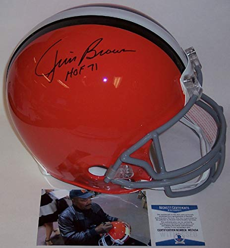 Jim Brown Autographed Hand Signed Cleveland Browns Throwback Full Size Authentic Pro Football Helmet - with HOF 71 Inscription - BAS Beckett Authentication ()
