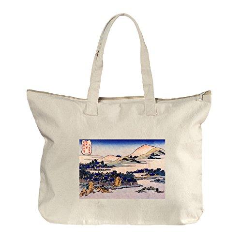Banana Plantation At Chuto (Hokusai) Canvas Beach Zipper Tote Bag - Shopping Plantation Florida