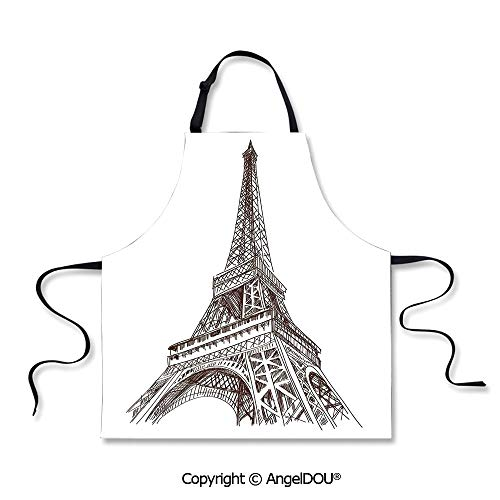 SCOXIXI Kitchen Bib Apron with Adjustable Neck Hand Drawn Style Illustration of Eiffel Tower European Building Cultural Art Work Print for Grill BBQ Cooking Cosplay Party.