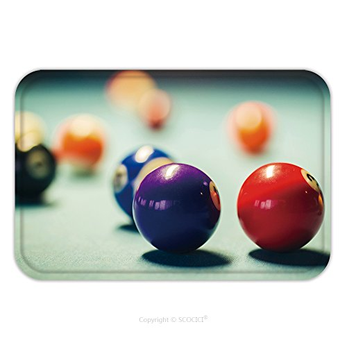 Flannel Microfiber Non-slip Rubber Backing Soft Absorbent Doormat Mat Rug Carpet Colorful Billiard Balls On A Pool Table 516656785 for Indoor/Outdoor/Bathroom/Kitchen/Workstations (Sale Tables For Tampa Pool)