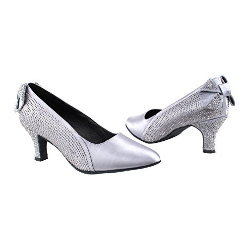 Gold Pigeon Shoes Party Party SERA5512 Comfort Evening Dress Pumps, Wedding Shoes: Women Ballroom Dance Shoes Medium Heel 5512- Grey Satin