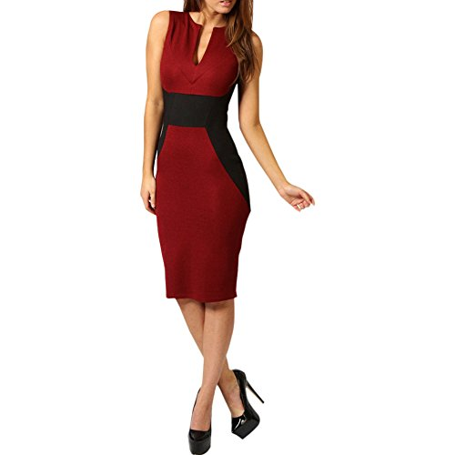 MAGIGAGA Women's Business Work Dress Color Block Fitted Shift Pencil Skirt M Red