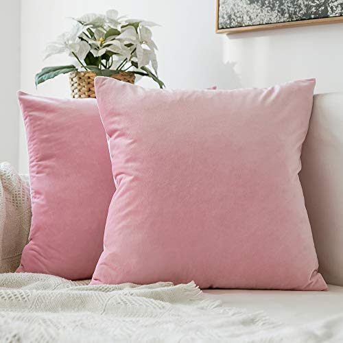 MIULEE Pack of 2 Decorative Velvet Pillow Covers Soft Square Throw Pillow Covers Soild Cushion Covers Pink Pillow Cases for Sofa Bedroom Car 18 x 18 Inch 45 x 45 -