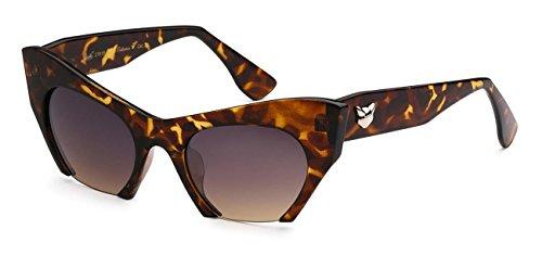 Giselle Eyewear Semi-Frameless & Bold CatEye Designer Sunglasses, Tort, Brown - Frameless Semi Glasses