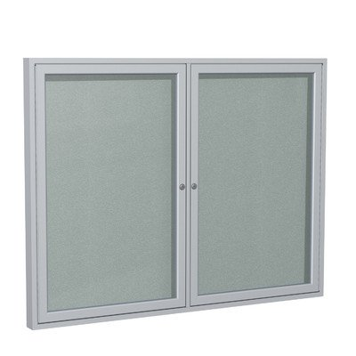 2 Door Outdoor Enclosed Bulletin Board Size: 3' H x 5' W, Frame Finish: Satin, Surface Color: Silver