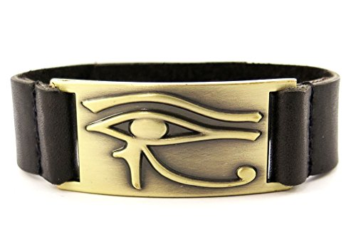 1000K ways Designs Horus Eye Bracelet, Leather, Adjustable