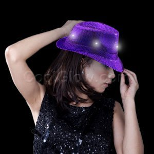 LED Sequin Fedora - Purple -