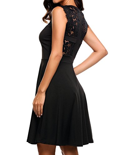 Elesol Women's Elegant Lace A-Line Sleeveless Pleated Cocktail Party Dress Black XXL