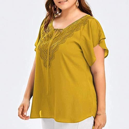 Chemise Casual Cou Irrgulier Blusen Bandage Top Mode Dentelle Et V Femme Shirt pissure Shirts Courtes Basic Gelb Mince Manches Confortable lgant Vetement xZnxaPz