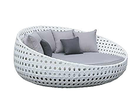 Cama chill out terraza y jardin rattan blanco Venus: Amazon ...