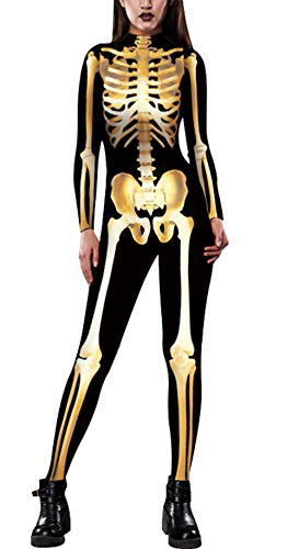 JomeDesign Womens 10D Skeleton Halloween Costumes Cosplay Jumpsuit Bodysuit Golden Skull X-Large -