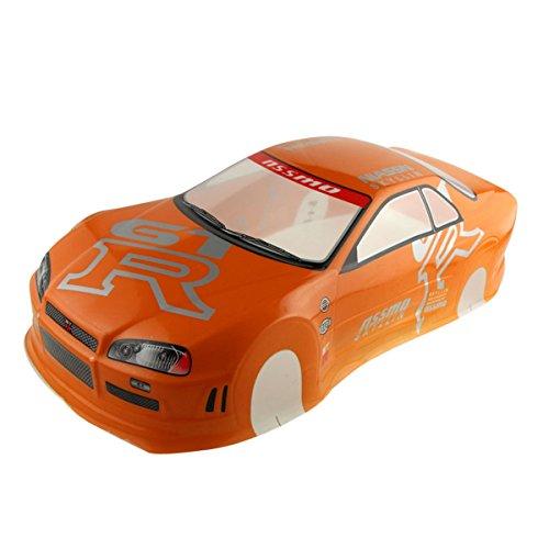 10 Painted Body (Coolplay 1/10 PVC Car Body Shell RC Racing Car Accessories NIASSN GTR- Orange)