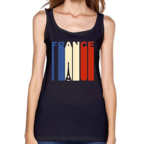 Women's Vest Beautiful Vintage Retro 1970's Style Eiffel Tower France Flag 100% Cotton Cami Black ()